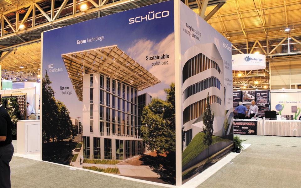 Eco friendly island exhibit | SEG Graphic Wall | Schuco