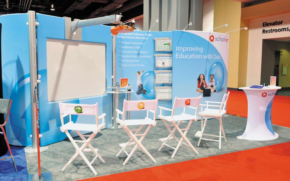 Lightweight Modular Booth with Tension Fabric Backwall | Schoolnet