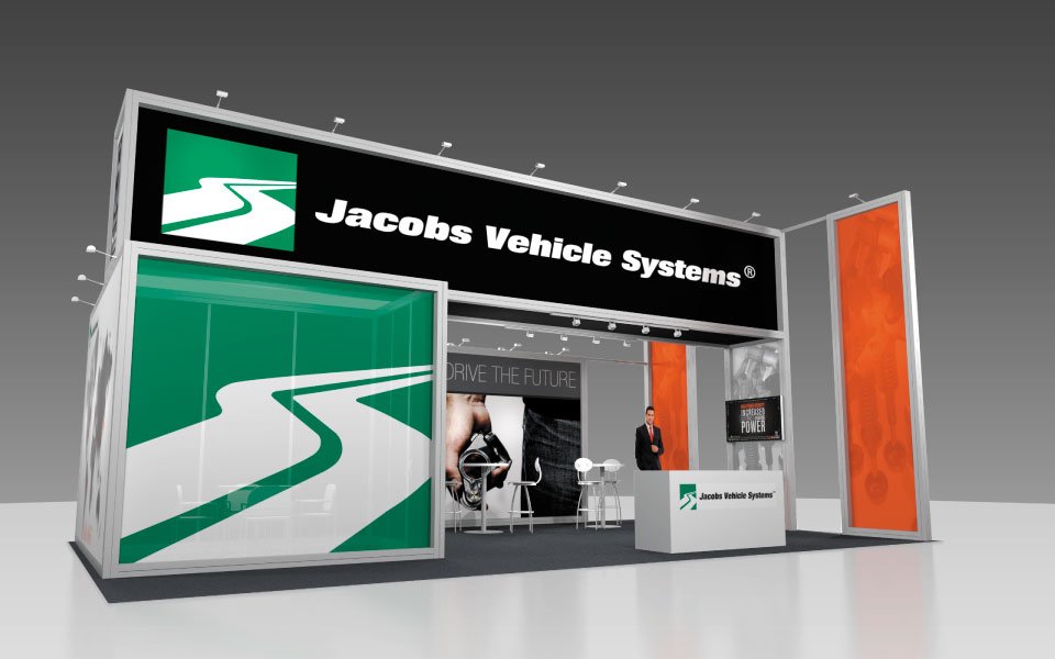 International Rental Booth Design for Jacobs Vehicle Systems | DisplayCraft