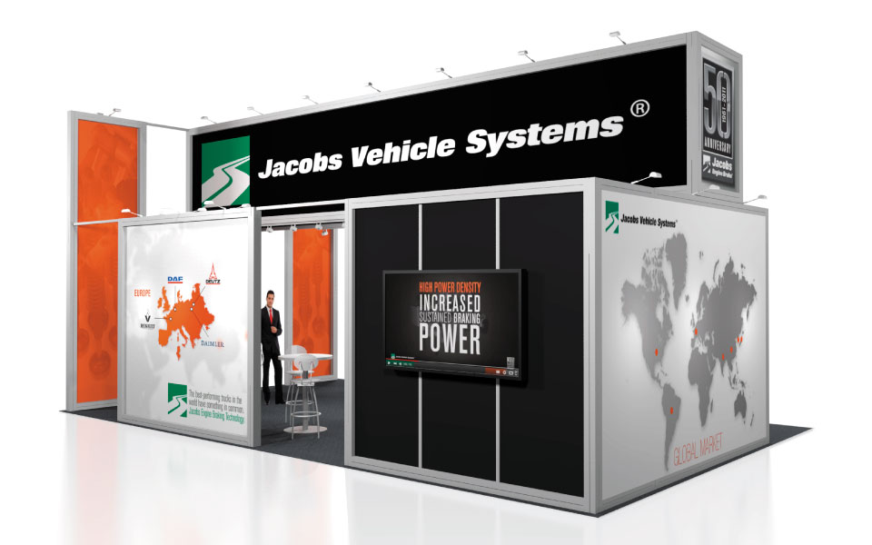 international rental booth design for Jacobs Vehicle Systems view 2