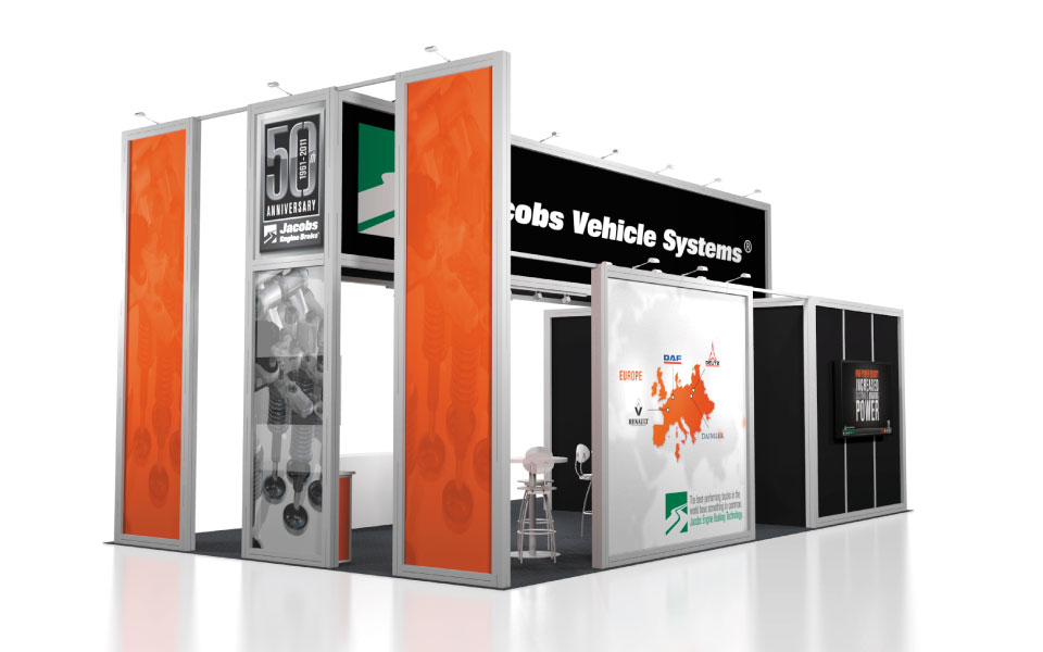 international rental booth design for Jacobs Vehicle Systems view 3