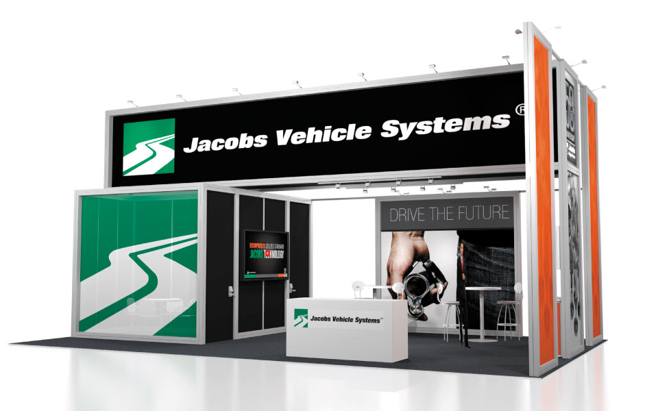 international rental booth design for Jacobs Vehicle Systems